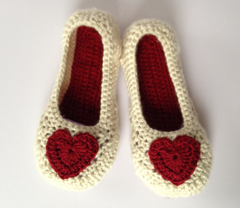 4e66956a72948 Red Heart Crochet Slippers . Easter gift for her .Mothers day gift  .Bridesmaid slippers. Wedding slippers. Non slip sole.