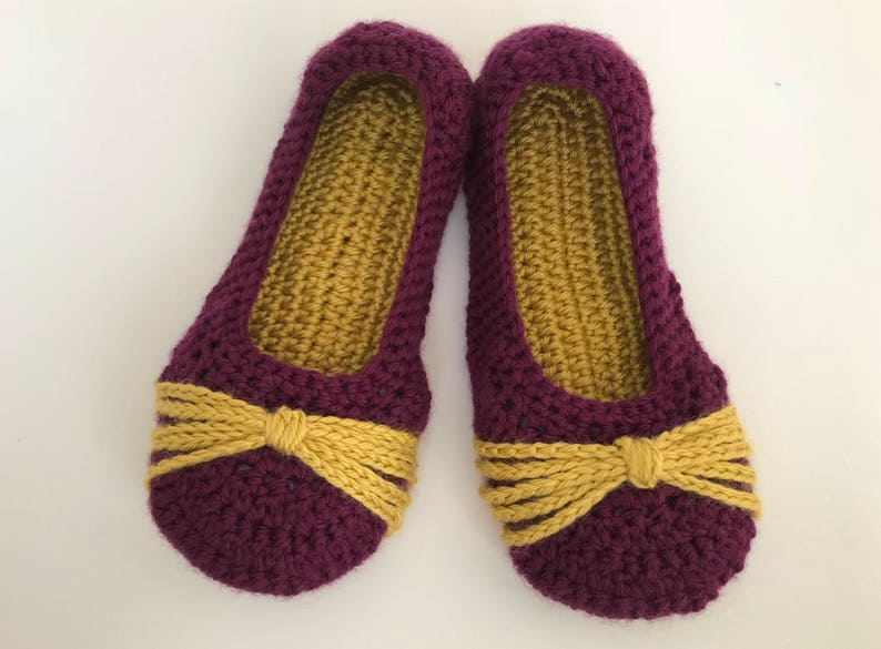 0a1b75c2e1c8f womens purple and gold crochet slippers. Ladies house shoes. Mothers Day  Gift.