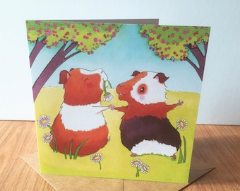 Dancing Guinea Pigs Greeting Card - Birthday, Easter, Mother's Day, Wedding, Engagement, Love, Anniversary, Good Luck
