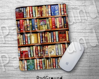 Bookshelf Mousepads, Library Mouse Pad, Mouse Mat, Accessories, Office Decor, Desk Decor, Book Lover Gifts - BS05