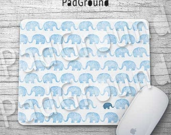 Elephant Mousepads, Cute Elephants Pattern, Blue Mouse Pad, Mouse Mat, Office Decor, Desk Accessories, Kids Gifts, Birthday Gifts - EPBE