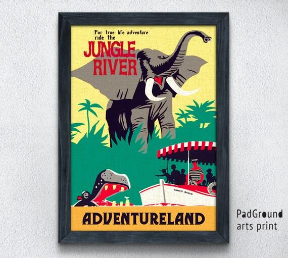 Disney Poster Disneyland Poster Jungle River Adventureland Print Gift UNFRAMED