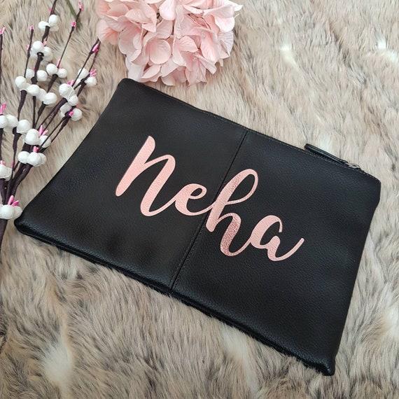 Pochette or rose, sac personnalisé, sac en cuir vegan, pochette en simili cuir, nom rose feuille d'or, iPad mini sac, sac demoiselle d'honneur or