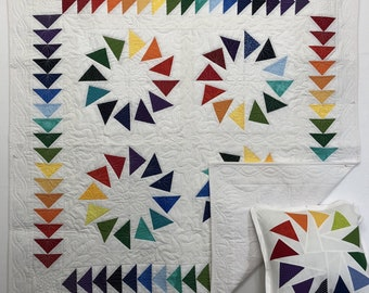 In Stock: Modern Flying Geese Triangle Rainbow Quilt or Wall Hanging with Free Pillowcase 18007