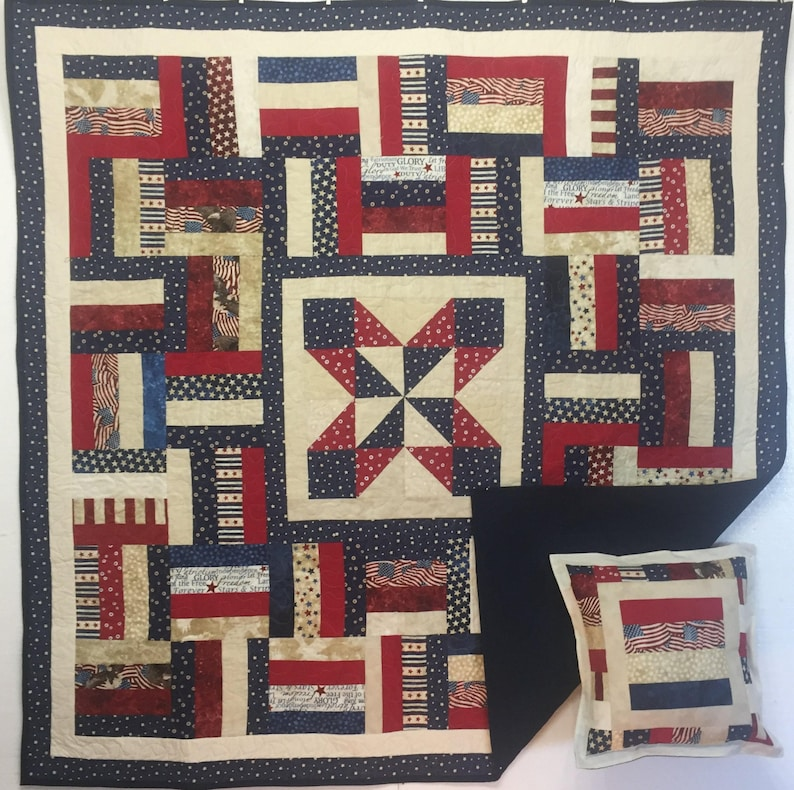 Patriotic Stars and Stripes Lap Quilt with Free Pillow Case 17002-4 Request Custom Order a Similar Item