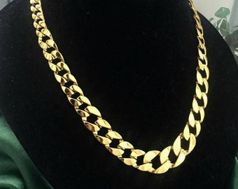 Wow Larg Graziano Necklace chunky Signed basket weave chain link design Choker Collar statement Gilt gold tone 80s Vintage Designer Couture