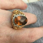 Gorgeous Byzantine ornate faceted oval smokey Brown quartz ring filigree Vermeil gold sterling silver 925 vintage chunky cocktail 5.25 size