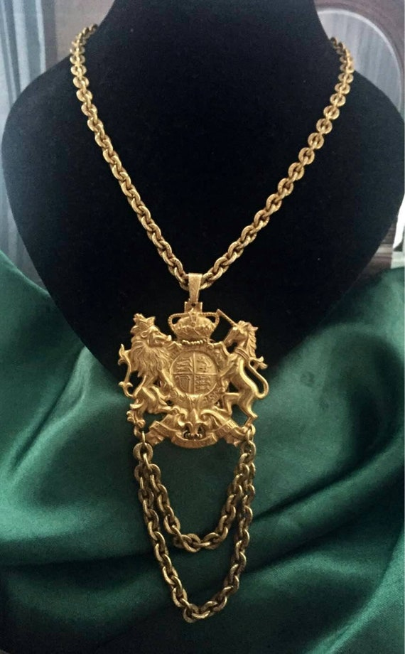 Miriam Haskell Royal Coat Of Arms Necklace pendant