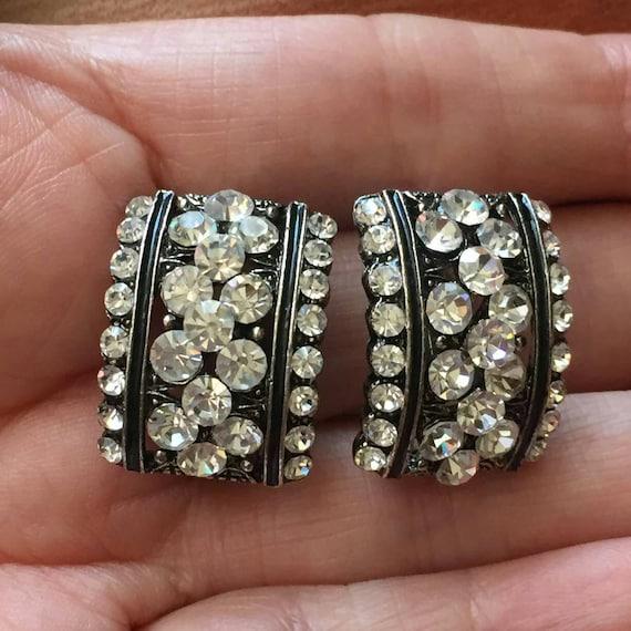 Sparkly! HOOP Crystal Rhinestones Earrings clip o… - image 1