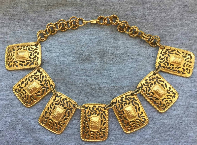 Stunning Etruscan Revival Royal filigree Choker Necklace bib image 0