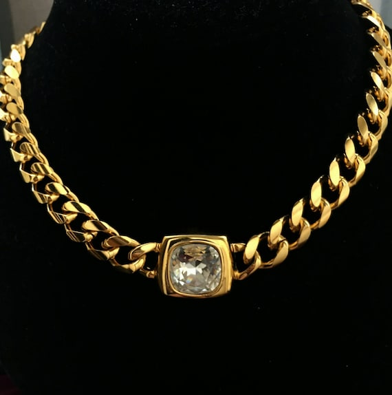 Designer KITSCH 90s Gold Tone Metal Medallion Pendant Long Necklace with Crystal Accents Couture