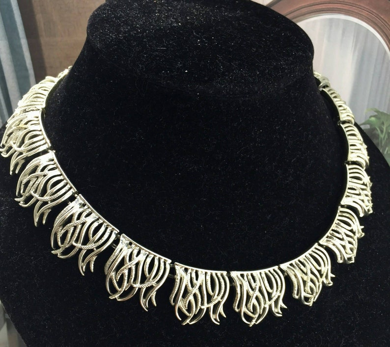 Vintage Coro Fringe stations Choker Collar Necklace statement silver tone Runway  Designer mid-century Cleopatra Regal 60s 17 click to view