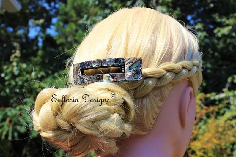 Big Hair Clips for Women Beach Barrette Paua Shell Hair Clip Hair Accessories Abalone Barrette Extra Large French Clip Womans Barette