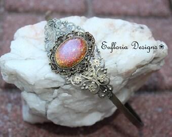 Wedding Headband / Bridal Hair Band / Antique Opal Hair Jewelry / Vintage Pink Glass Fire Opal Hairband / Glass Opal Crown / Opal Head Piece