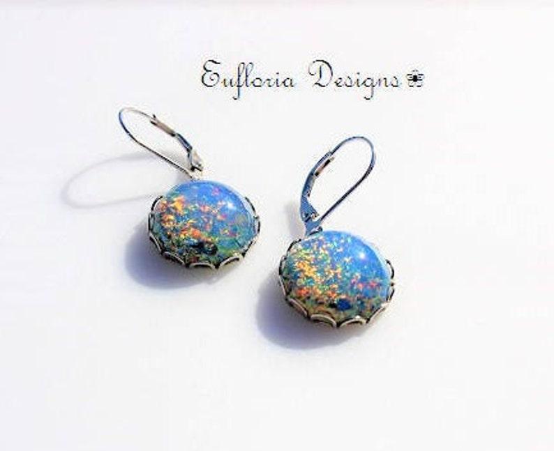 c9ecff490 Opal Earrings Dangle Womens 925 Sterling Silver Leverback | Etsy