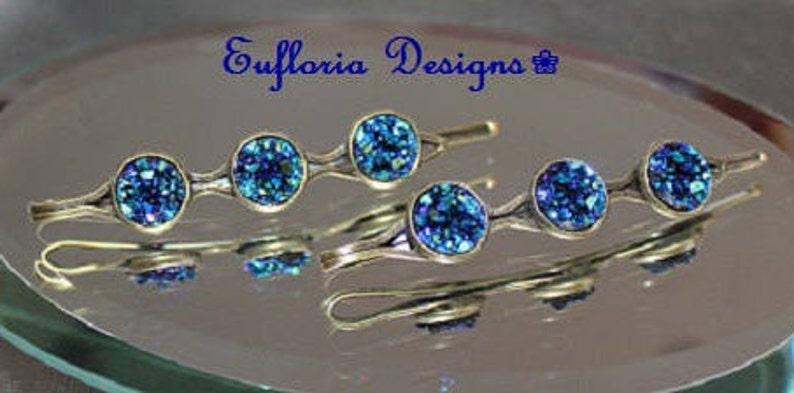 Womans Barettes Crystal Hair Pins Druzy Hair Jewelry Unique Hair Pins Bridal Something Blue Jeweled Hair Clips Womens Hair Accessories