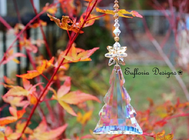 Large Prism Christmas Tree Suncatcher Window Sun Catcher Beaded Window Hanging Glass Ornament Crystal Sun Catchers Beaded Suncatchers
