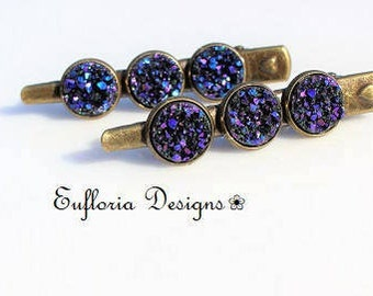 Womens Hair Clips / Purple Hair Accessories / Druzy Barrette / Alligator Claw Hair Clips / Jaw Clip / Set of 2 / Crystal Druzy Hair Clips