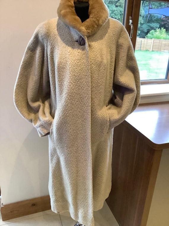 Audrey Segal grey wool 1950's coat, faux fur colla