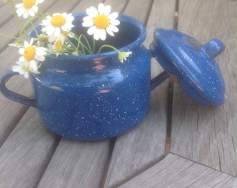 Blue Graniteware Sugar Bowl
