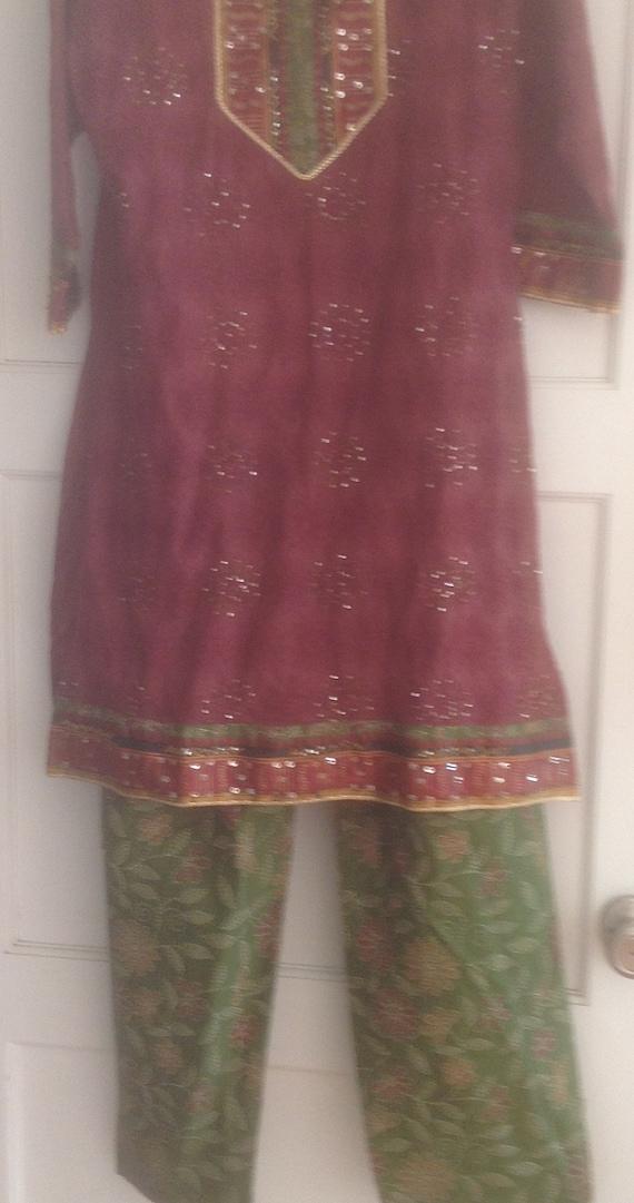 Indian Pajama Set, Embroidered Top, Matching Pants