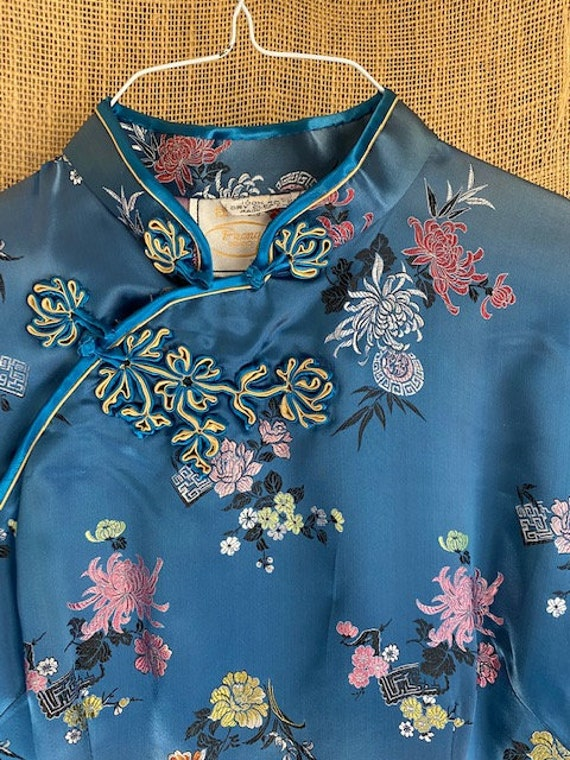 Chinese Blue Silky Dress / mandarin gown / Cheongs