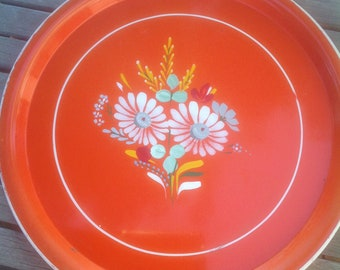 Orange Tole Painted Metal Tray