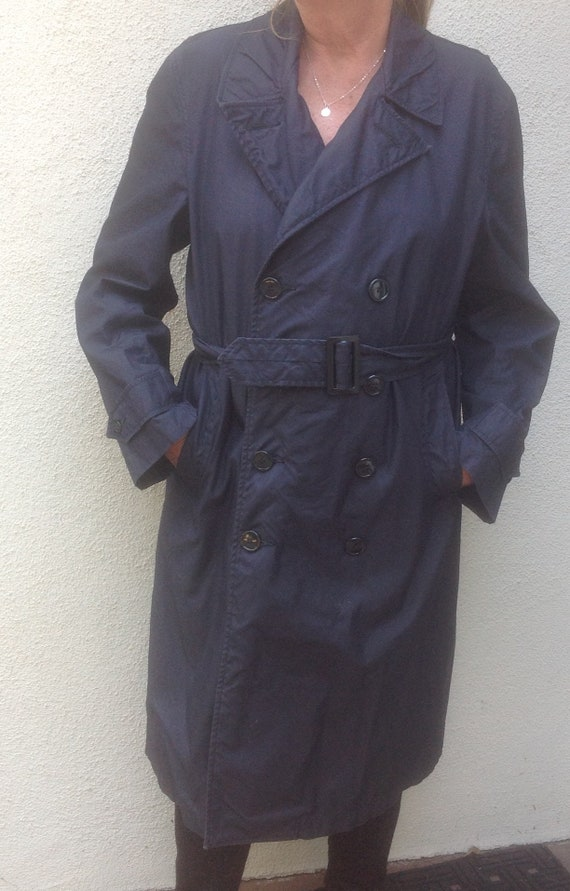 Unisex Trench Coat, Navy blue