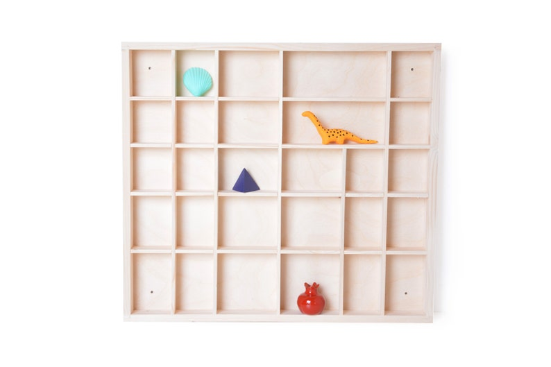 Wooden Display Unfinished 28 Compartments Spice Rack Unpainted Wood Knick Knack Collection Keepsake Case Shelf Shadow Box Organizer