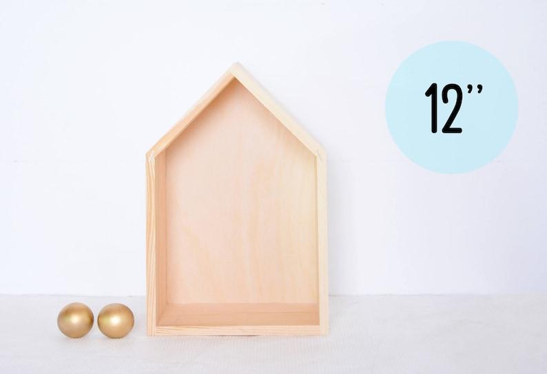Wooden House Shelf Unfinished Unpainted Wood Minimalist Scandinavian Nursery Kids Bedroom Shadow Box Display Floating Shelf Book Case