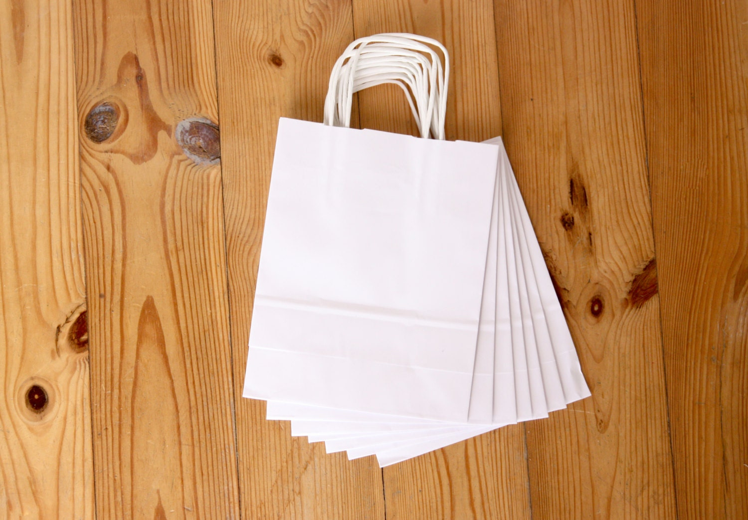 set of 25 paper bags, white paper bag with handles, small shopping ...