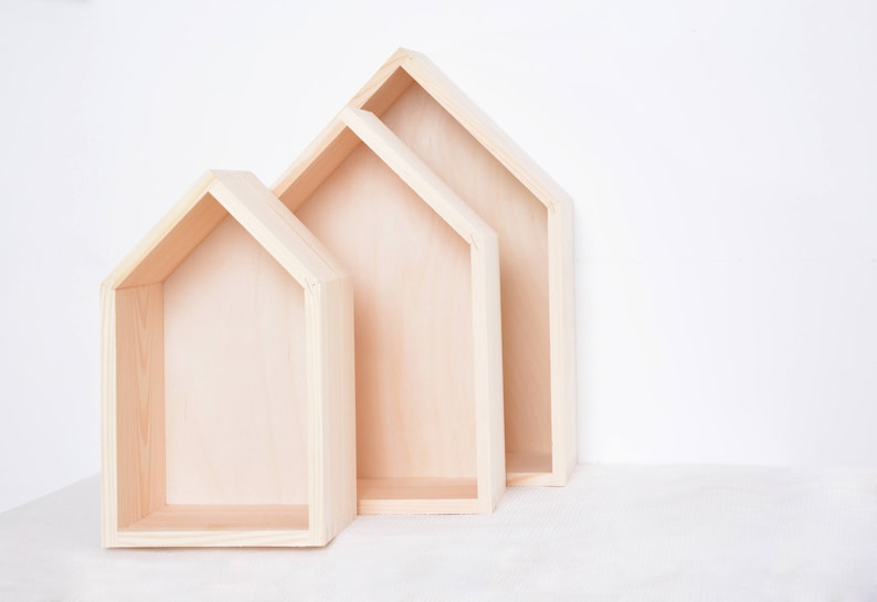 Set Of 3 Wooden House Shelves Unpainted Wood Minimalist Scandinavian Nursery Kids Bedroom Shadow Box Display Floating Shelf Book Case