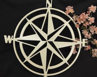 Wooden Compass Cutout- Wooden Compass, Large Compass, Wall Hanging Wall Decor- Nautical Nursery, Nautical Theme, Nautical Compass- Nautical