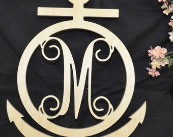 Anchor Monogram, Anchor Cut Out, Wooden Initial, Unpainted Wooden Anchor  Monogram, Anchor