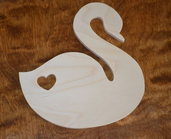 Swans and Heart Wooden Laser Cut Shapes Various Sizes