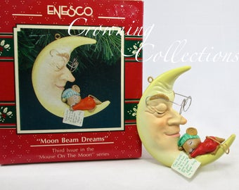 Enesco Moon Beam Dreams Mouse Treasury of Christmas Ornament Mice Third in Series Mouse Sleeping Napping Vintage