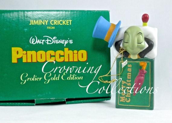 Grolier Jiminy Cricket Gold Edition Ornament Pinocchio Porcelain Disney Matchbox
