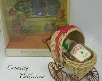 1981 Hallmark Baby's First Christmas Ornament Carriage Buggy Baby 1st Keepsake Pram Boy Girl Stroller