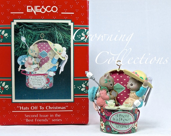 Hats Off To Christmas.Enesco Mice Hats Off To Christmas Treasury Of Christmas Ornament 2nd In Best Friends Series Hat Box Karen Hahn Vintage