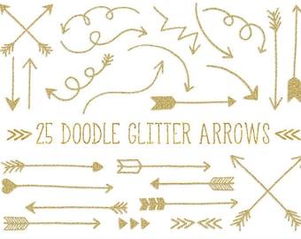 Gold Glitter Arrows Clip Art. Hand Drawn Arrows Clipart. Glitter Doodle Arrows. Tribal Arrow Images. Golden Metallic Arrow Clipart (0003)