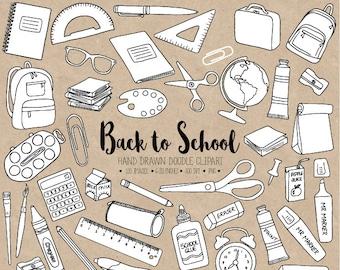 Back To School Clipart Hand Drawn School Clip Art Office Etsy
