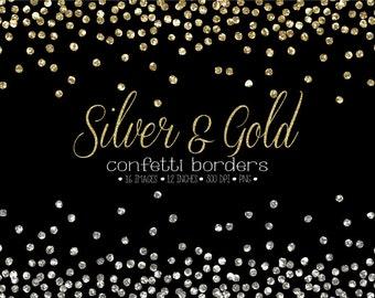 glitter confetti border clipart gold silver confetti frames metallic christmas new year confetti glitter gold silver confetti overlay