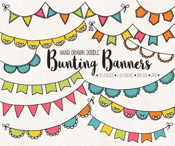 Girlanden Banner Clipart Handgezeichnete Geburtstag Girlande Etsy