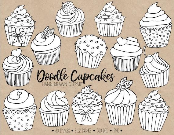 Clipart De Doodle De Cupcake à La Main Tiré Noir Blanc Contours Cupcake Illustrations De Cupcake Pages à Colorier Saint Valentin Fête Des Mères