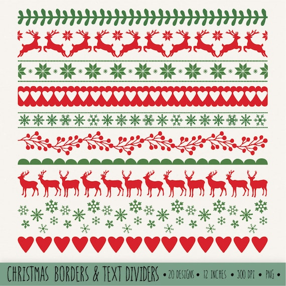 Christmas Borders Clip Art. Red and Green Digital Ribbon ...