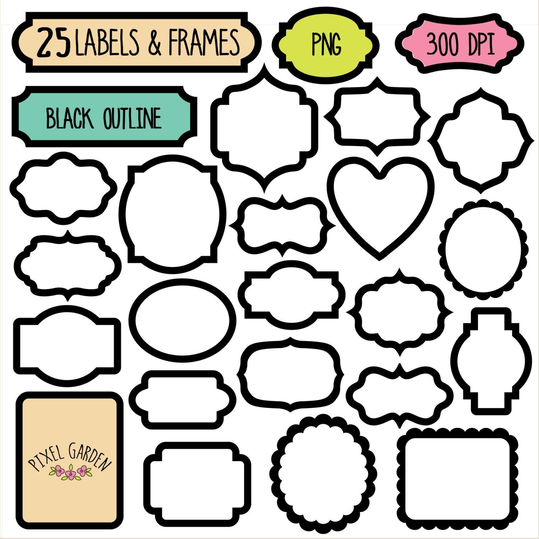 60 % RABATT. Schwarze Rahmen Clip Art Set. Digitale Tags | Etsy