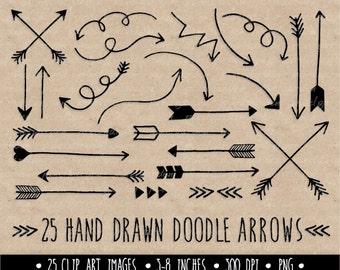 Hand Drawn Arrows Clipart. Black Doodle Arrows Clip Art. Line Art Tribal Arrow Images. Valentine's Day Arrows. Arrows Clip Art. (0002)