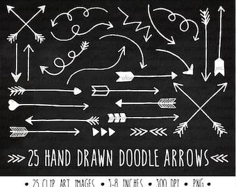 White Arrows Clip Art Set. Hand Drawn Arrows Clipart. Chalkboard Doodle Arrows. Tribal Arrow Images. White, Chalkboard Clipart (0005)