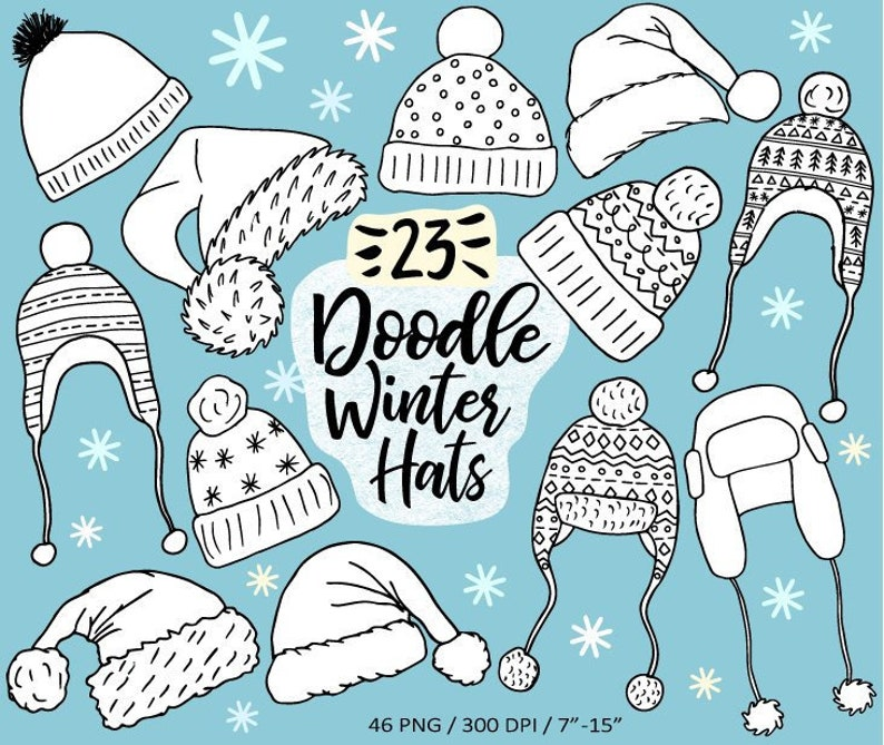c854737b6ce Christmas Hat Clip Art. Hand Drawn Winter Hats Cothing Knit