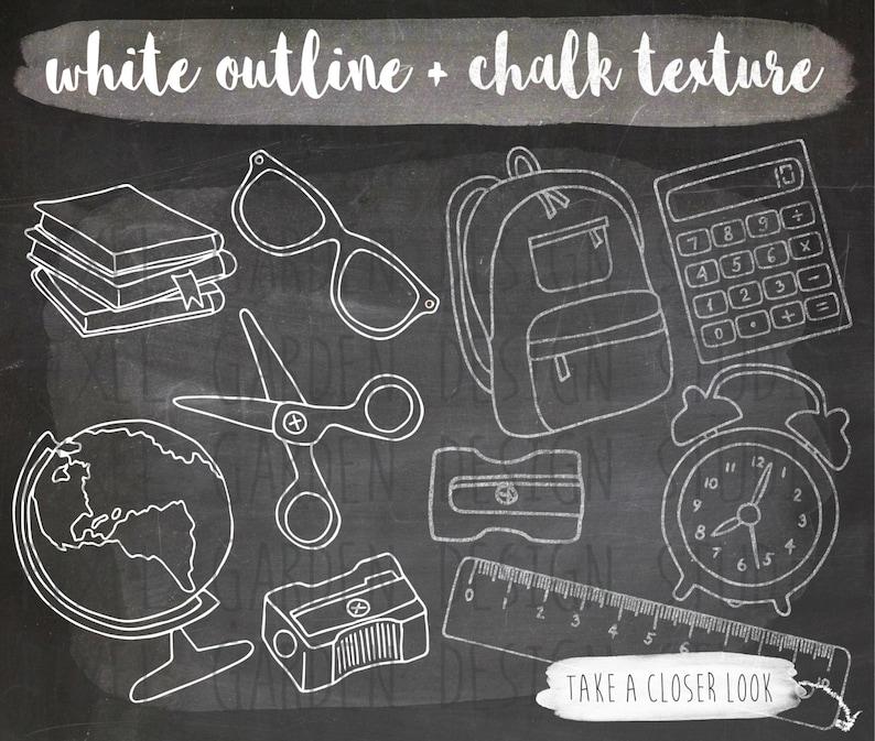 169e4a7677 Chalkboard School Clipart. Hand Drawn Chalk Texture School